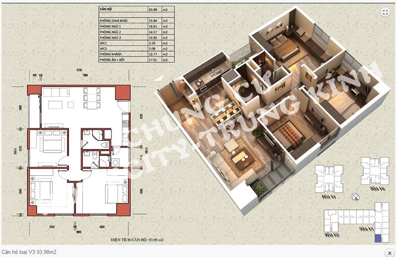 Thiết kế chi tiết căn hộ 93,98 m2 tòa V3 dự án Home City 177 Trung Kính