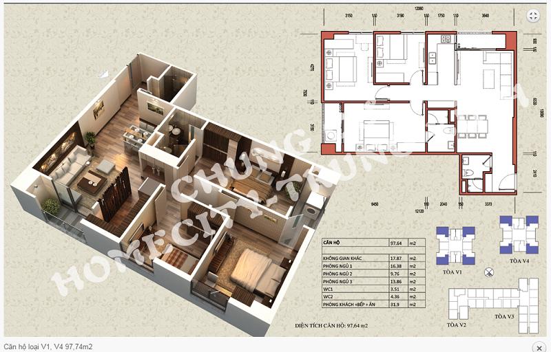 Thiết kế chi tiết căn hộ 97,64 m2 tòa V1 - V4 dự án Home City 177 Trung Kính