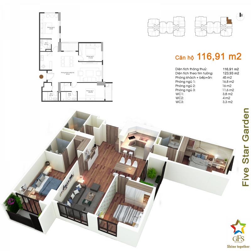 Thiết kế căn hộ 116,91m2 chung cư Fivestar Garden 02 Kim Giang