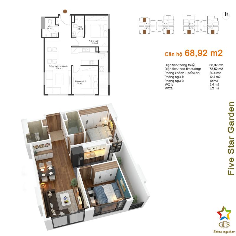 Thiết kế căn hộ 68,92m2 chung cư Fivestar Garden 02 Kim Giang