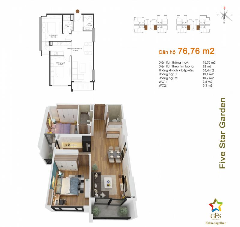 Thiết kế căn hộ 76,76m2 chung cư Fivestar Garden 02 Kim Giang
