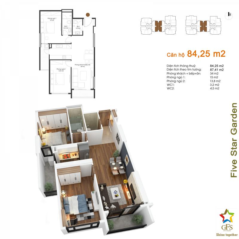 Thiết kế căn hộ 84,25m2 chung cư Fivestar Garden 02 Kim Giang