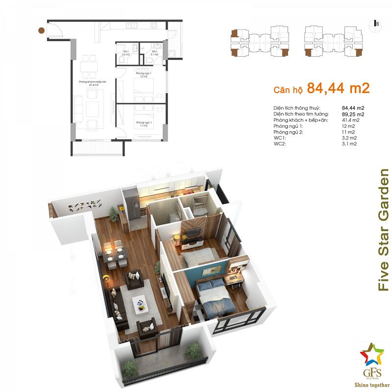Thiết kế căn hộ 84,44m2 chung cư Fivestar Garden 02 Kim Giang
