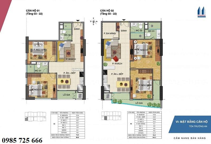 Thiết kế chi tiết căn hộ 1-2 tòa Trường An - 1 Phùng Chí Kiên