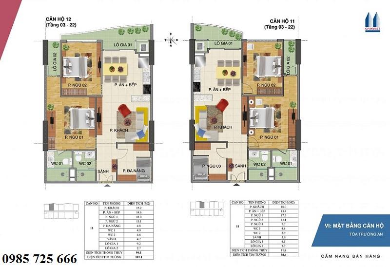 Thiết kế chi tiết căn hộ 11-12 tòa Trường An - 1 Phùng Chí Kiên - Hoàng Quốc Việt