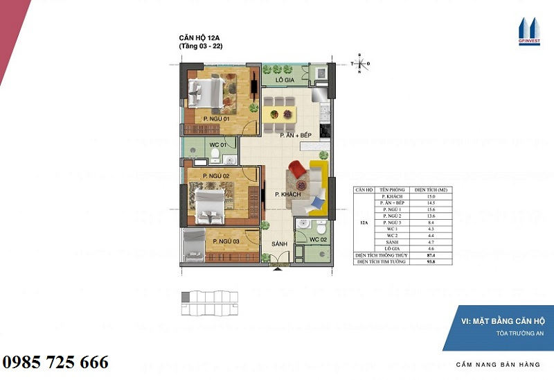Thiết kế chi tiết căn hộ 12a tòa Trường An - 1 Phùng Chí Kiên