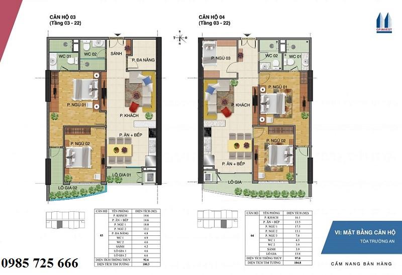 Thiết kế chi tiết căn hộ 3-4 tòa Trường An - 1 Phùng Chí Kiên