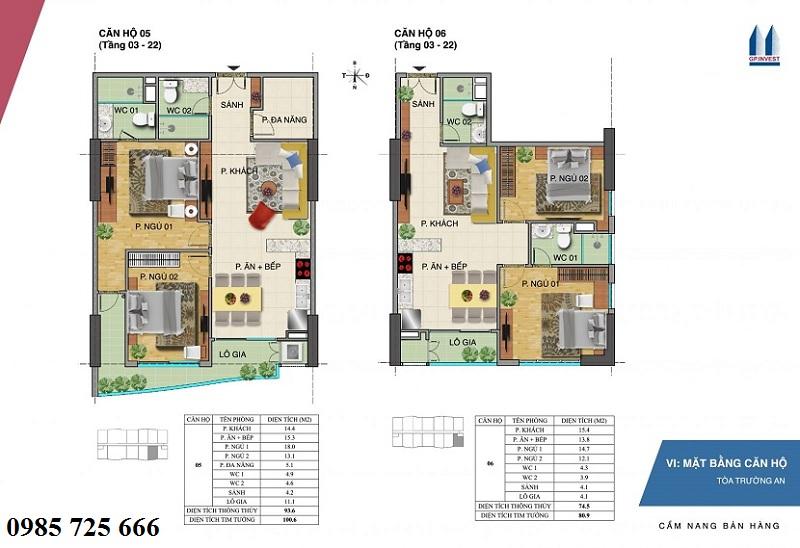 Thiết kế chi tiết căn hộ 5-6 tòa Trường An - 1 Phùng Chí Kiên - Hoàng Quốc Việt