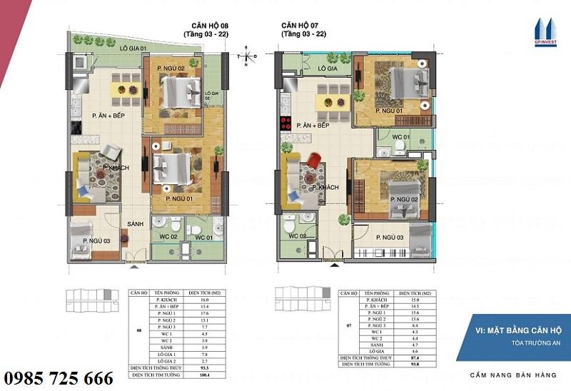 Thiết kế chi tiết căn hộ 7-8 tòa Trường An - 1 Phùng Chí Kiên