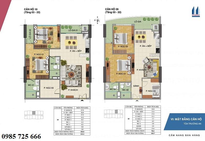 Thiết kế chi tiết căn hộ 9-10 tòa Trường An - 1 Phùng Chí Kiên