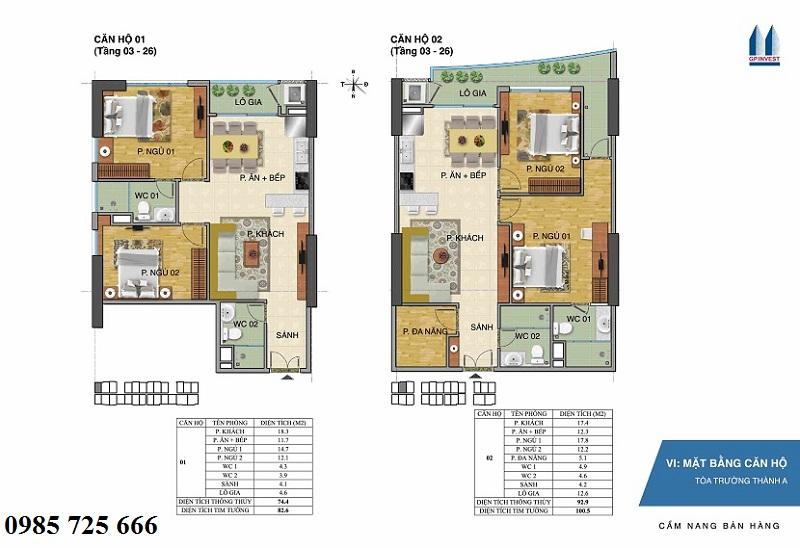 Thiết kế chi tiết căn hộ 1-2 tòa Trường Thành A - 1 Phùng Chí Kiên