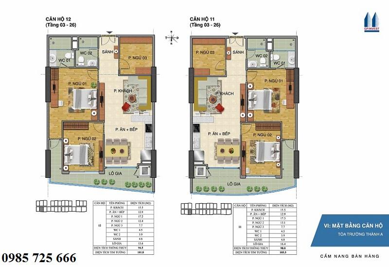 Thiết kế chi tiết căn hộ 11-12 tòa Trường Thành A - 1 Phùng Chí Kiên - Hoàng Quốc Việt