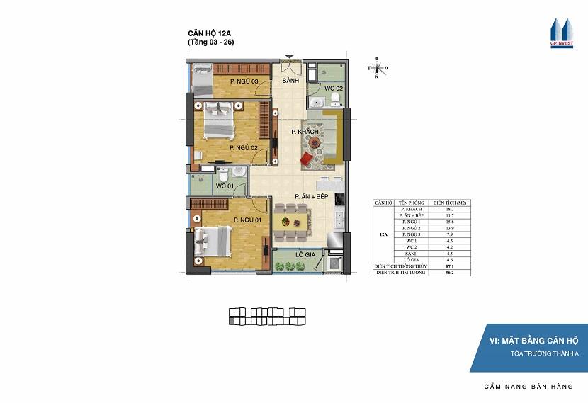 Thiết kế chi tiết căn hộ 12a tòa Trường Thành A - 1 Phùng Chí Kiên