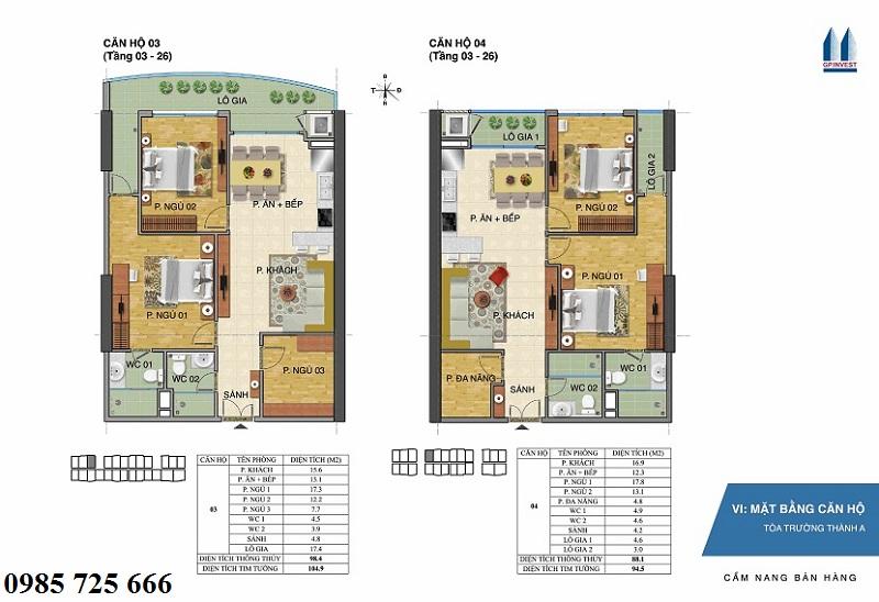 Thiết kế chi tiết căn hộ 3-4 tòa Trường Thành A - 1 Phùng Chí Kiên