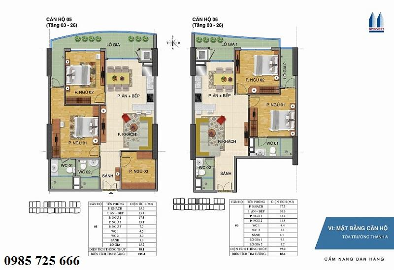 Thiết kế chi tiết căn hộ 5-6 tòa Trường Thành A - 1 Phùng Chí Kiên