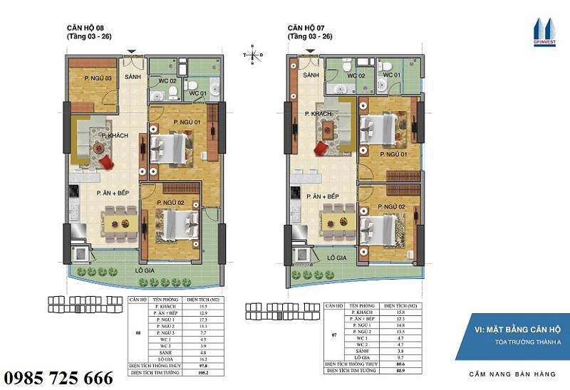 Thiết kế chi tiết căn hộ 7-8 tòa Trường Thành A - 1 Phùng Chí Kiên