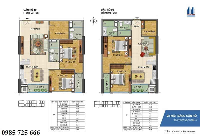 Thiết kế chi tiết căn hộ 9-10 tòa Trường Thành A - 1 Phùng Chí Kiên