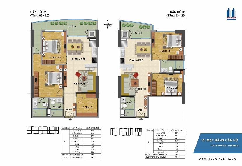 Thiết kế chi tiết căn hộ 1-2 tòa Trường Thành B - 1 Phùng Chí Kiên