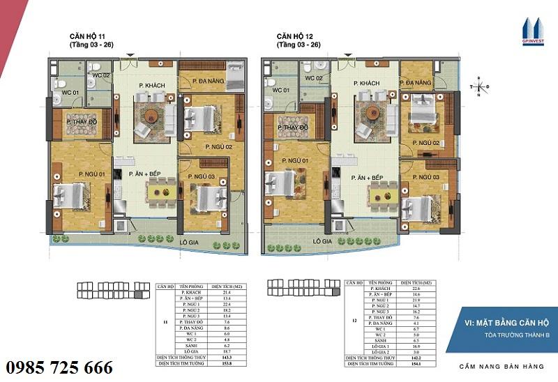 Thiết kế chi tiết căn hộ 11-12 tòa Trường Thành B - 1 Phùng Chí Kiên - Hoàng Quốc Việt