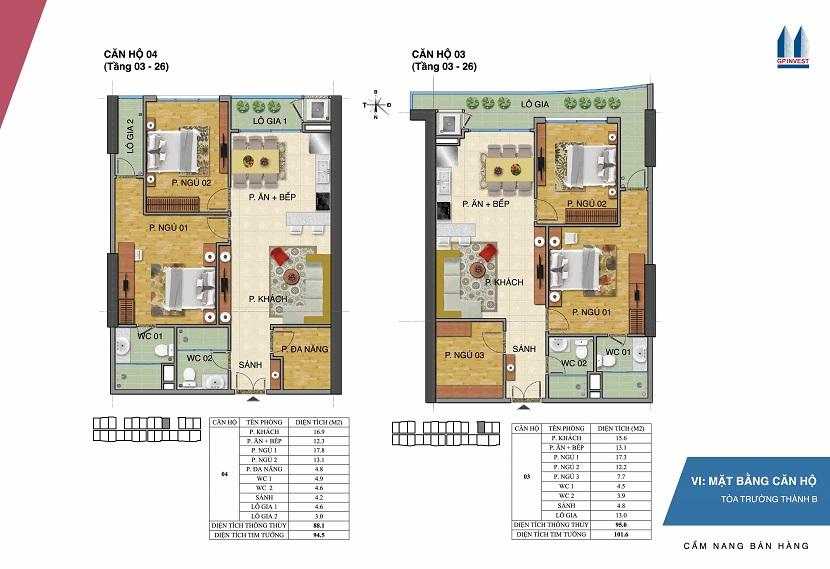 Thiết kế chi tiết căn hộ 3-4 tòa Trường Thành B - 1 Phùng Chí Kiên