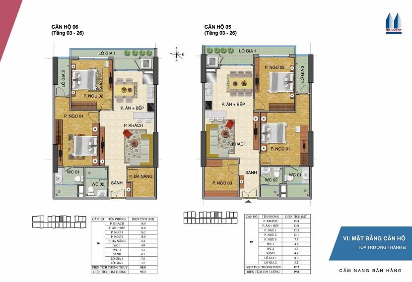 Thiết kế chi tiết căn hộ 5-6 tòa Trường Thành B - 1 Phùng Chí Kiên
