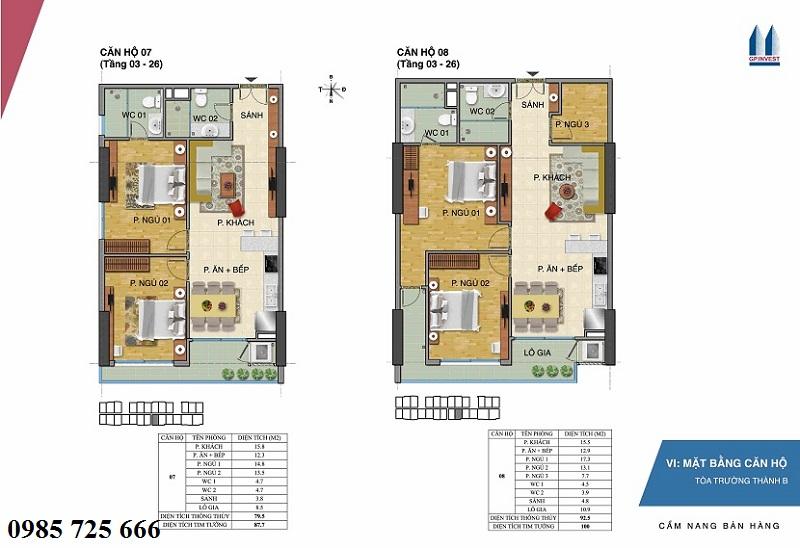 Thiết kế chi tiết căn hộ 7-8 tòa Trường Thành B - 1 Phùng Chí Kiên