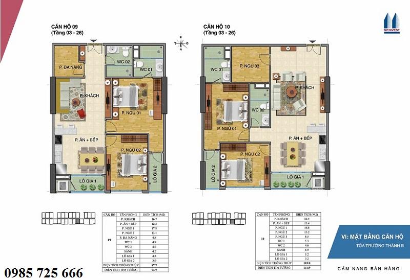 Thiết kế chi tiết căn hộ 9-10 tòa Trường Thành B - 1 Phùng Chí Kiên