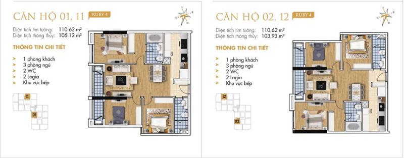 Thiết kế chi tiết căn hộ 1-2-11-12 Ruby 4 Goldmark City- 136 Hồ Tùng Mậu - Từ Liêm