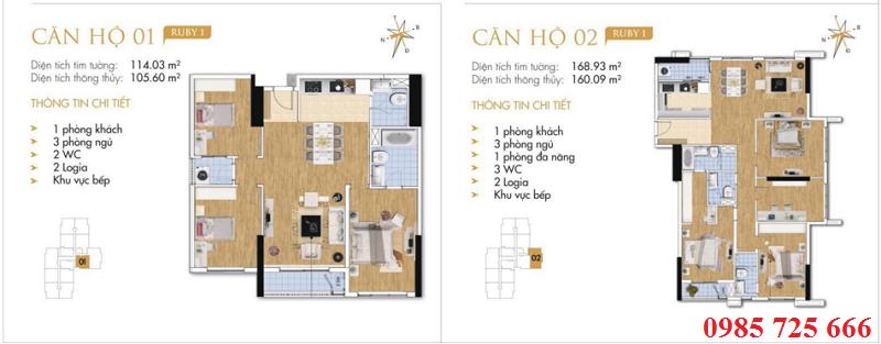 Thiết kế chi tiết căn hộ 1-2 Ruby 1 Goldmark City - 136 Hồ Tùng Mậu - Từ Liêm