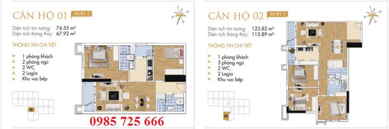 Thiết kế chi tiết căn hộ 1-2 Ruby 2 Goldmark City