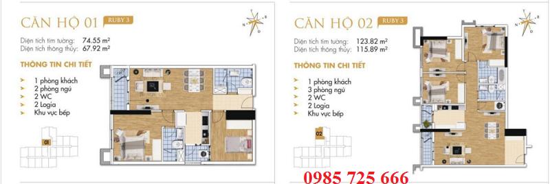 Thiết kế chi tiết căn hộ 1-2 Ruby 3 Goldmark City- 136 Hồ Tùng Mậu - Từ Liêm