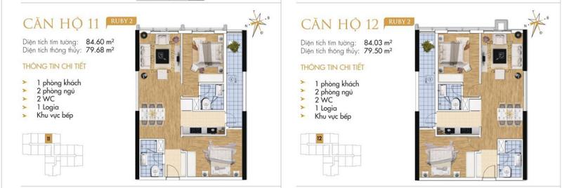 Thiết kế chi tiết căn hộ 11-12 Ruby 2 Goldmark City- 136 Hồ Tùng Mậu - Từ Liêm