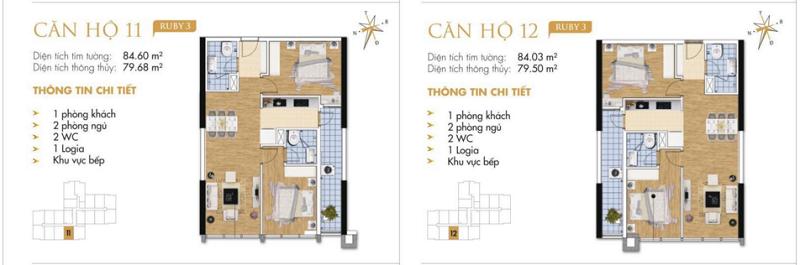 Thiết kế chi tiết căn hộ 11-12 Ruby 3 Goldmark City