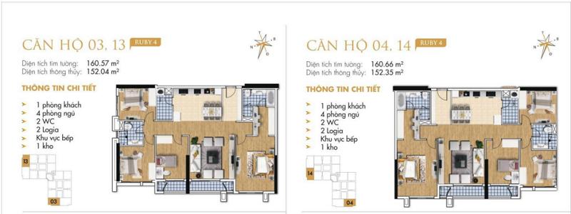 Thiết kế chi tiết căn hộ 3-4-13-14 Ruby 4 Goldmark City- 136 Hồ Tùng Mậu - Từ Liêm