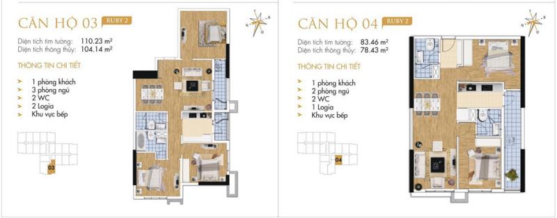 Thiết kế chi tiết căn hộ 3-4 Ruby 2 Goldmark City