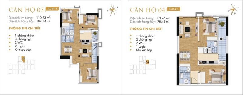 Thiết kế chi tiết căn hộ 3-4 Ruby 3 Goldmark City- 136 Hồ Tùng Mậu - Từ Liêm
