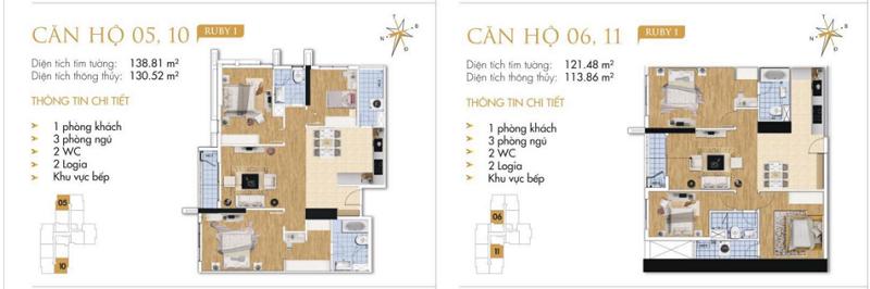 Thiết kế chi tiết căn hộ 5-6-10-11 Ruby 1 Goldmark City