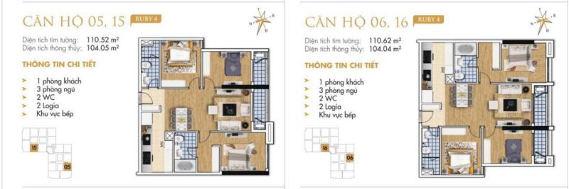 Thiết kế chi tiết căn hộ 5-6-15-16 Ruby 4 Goldmark City- 136 Hồ Tùng Mậu - Từ Liêm