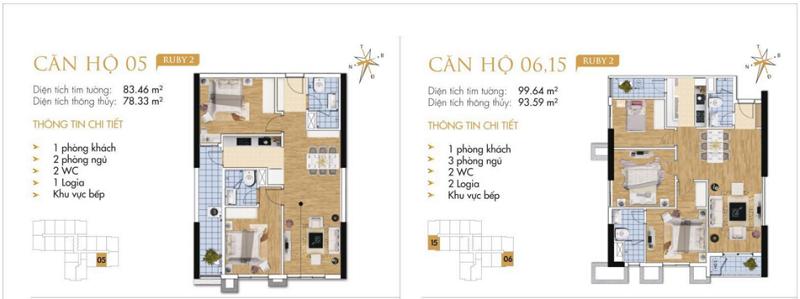 Thiết kế chi tiết căn hộ 5-6-15 Ruby 2 Goldmark City