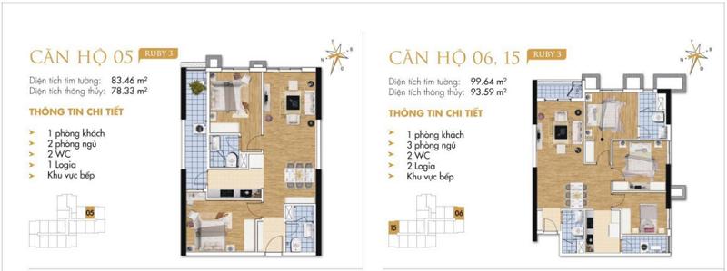 Thiết kế chi tiết căn hộ 5-6-15 Ruby 3 Goldmark City- 136 Hồ Tùng Mậu - Từ Liêm