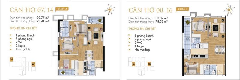Thiết kế chi tiết căn hộ 7-8-14-16 Ruby 2 Goldmark City- 136 Hồ Tùng Mậu - Từ Liêm