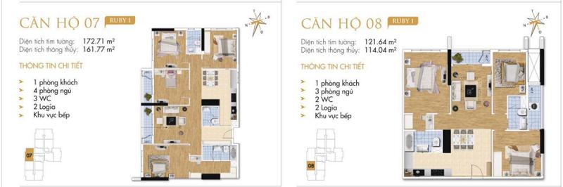 Thiết kế chi tiết căn hộ 7-8 Ruby 1 Goldmark City