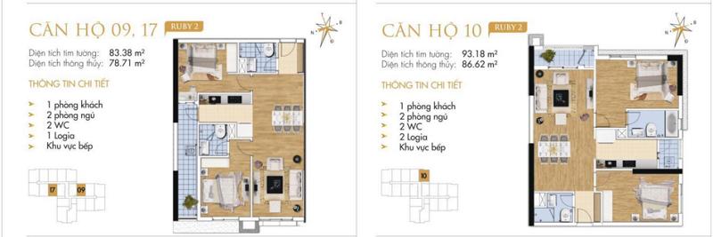 Thiết kế chi tiết căn hộ 9-10-17 Ruby 2 Goldmark City- 136 Hồ Tùng Mậu - Từ Liêm
