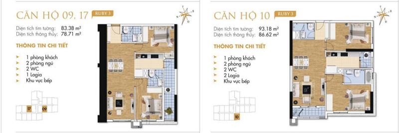 Thiết kế chi tiết căn hộ 9-10-17 Ruby 3 Goldmark City