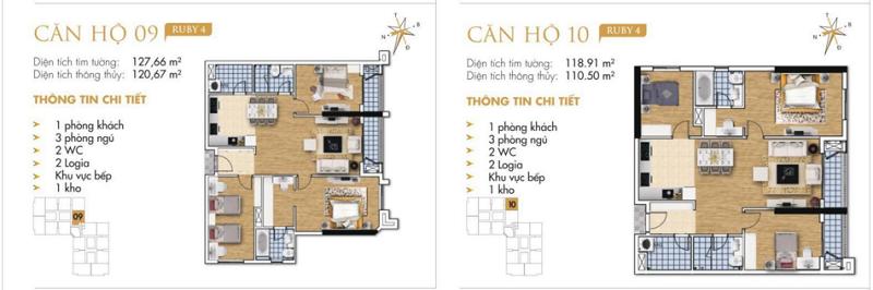 Thiết kế chi tiết căn hộ 9-10 Ruby 4 Goldmark City- 136 Hồ Tùng Mậu - Từ Liêm