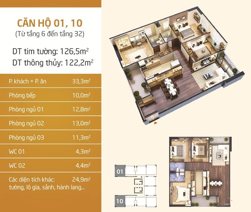 Thiết kế căn hộ 1- 10 Chung cư Lạc Hồng Lotus N01-T5