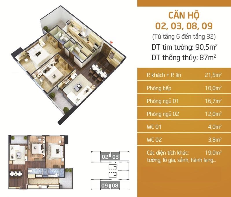 Thiết kế căn hộ 2-3-8-9 Chung cư Lạc Hồng Lotus N01-T5