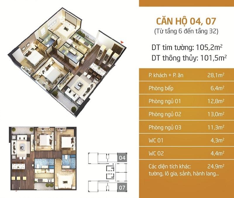 Thiết kế căn hộ 4-7 Chung cư Lạc Hồng Lotus N01-T5