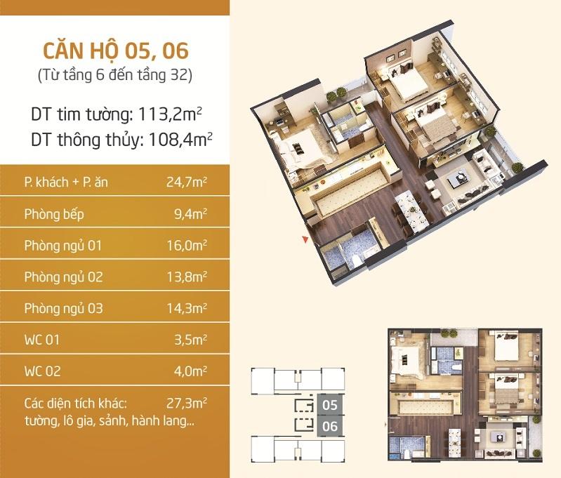 Thiết kế căn hộ 5-6 Chung cư Lạc Hồng Lotus N01-T5