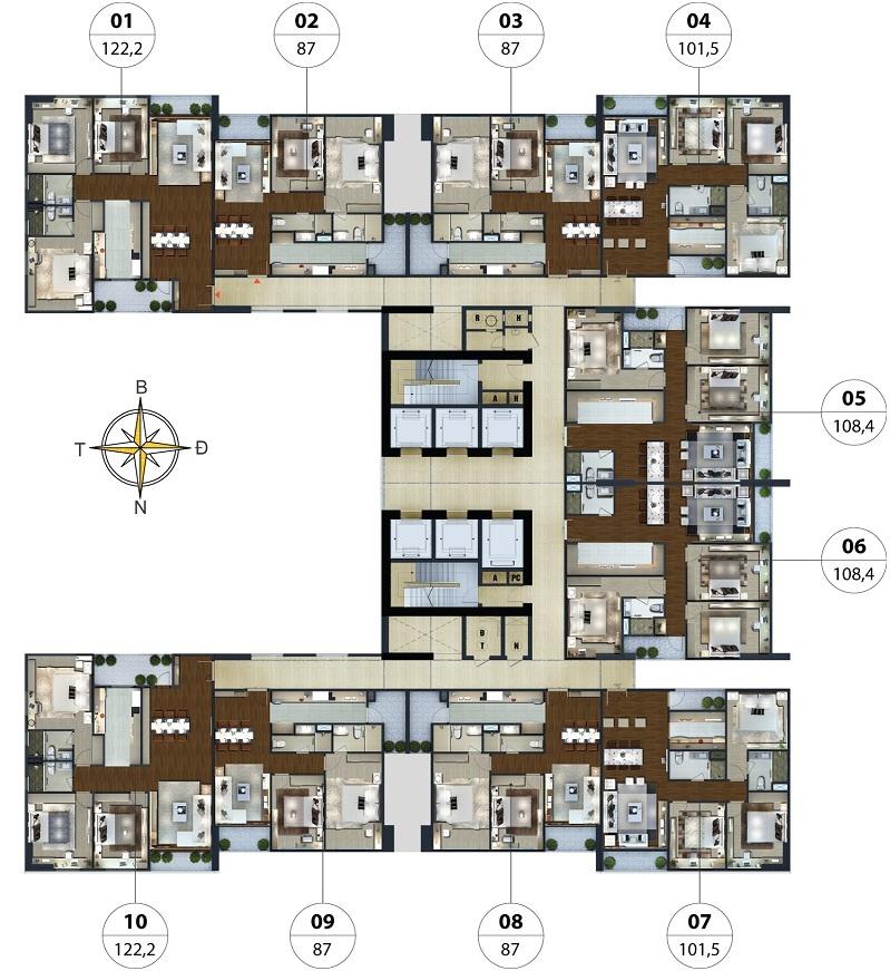 Mặt bằng căn hộ Chung cư Lạc Hồng Lotus N01-T5 Ngoại Giao Đoàn